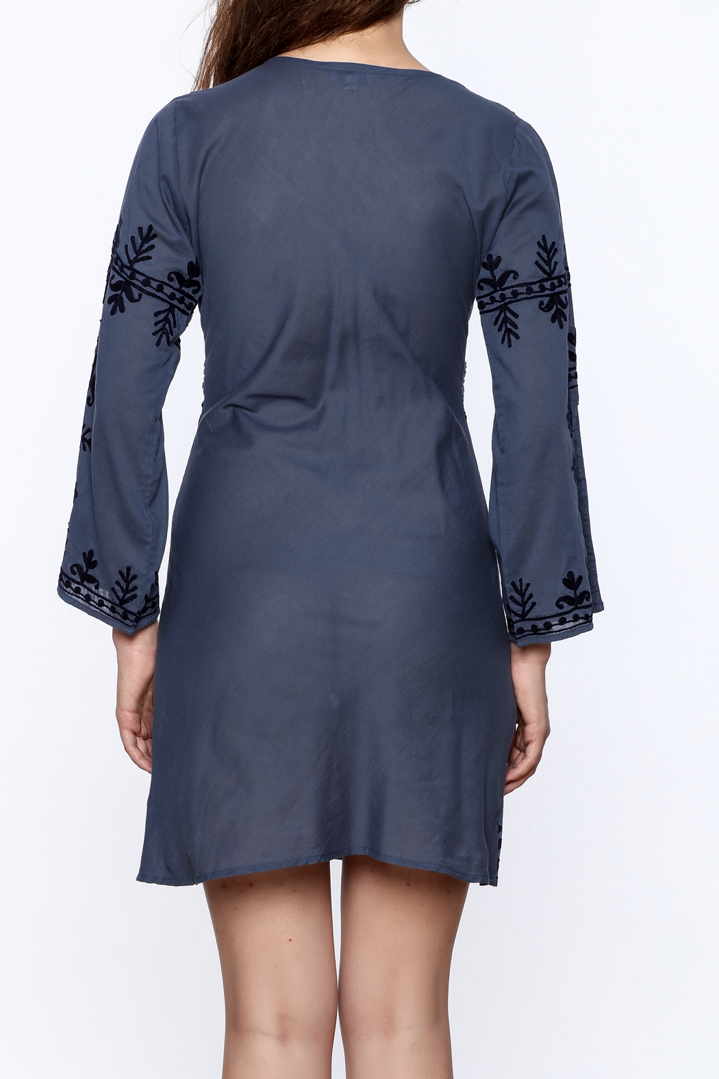 Debbie Katz Blue Embroidered Dress - Back Cropped Image