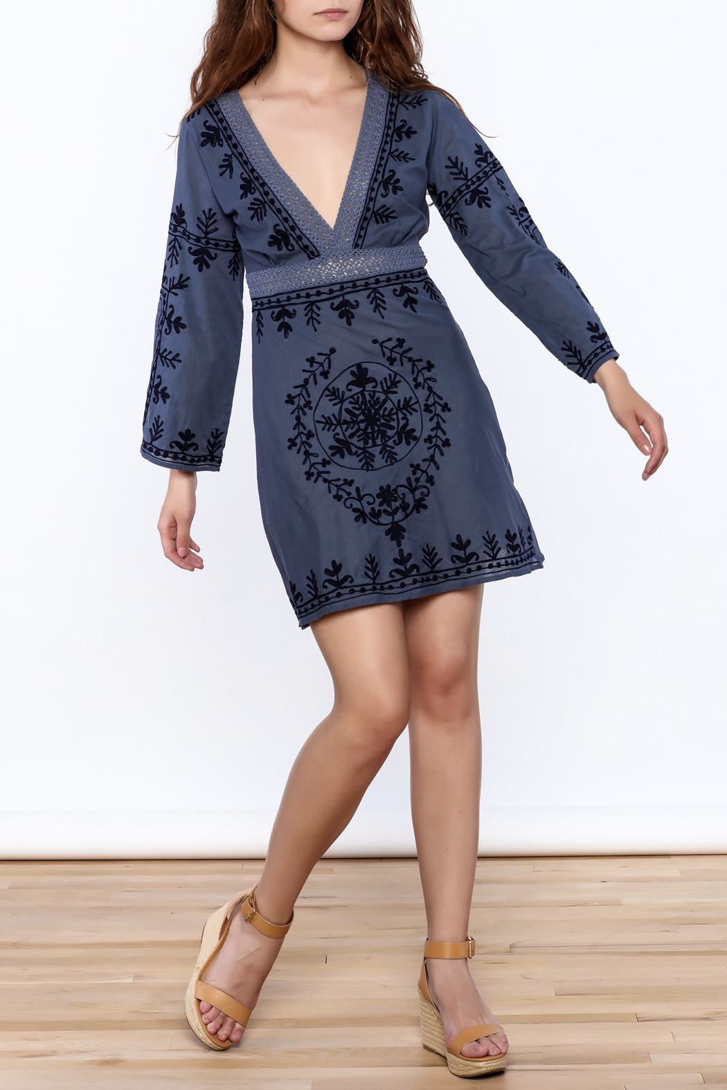 Debbie Katz Blue Embroidered Dress - Front Full Image