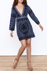 Debbie Katz Blue Embroidered Dress - Front full body