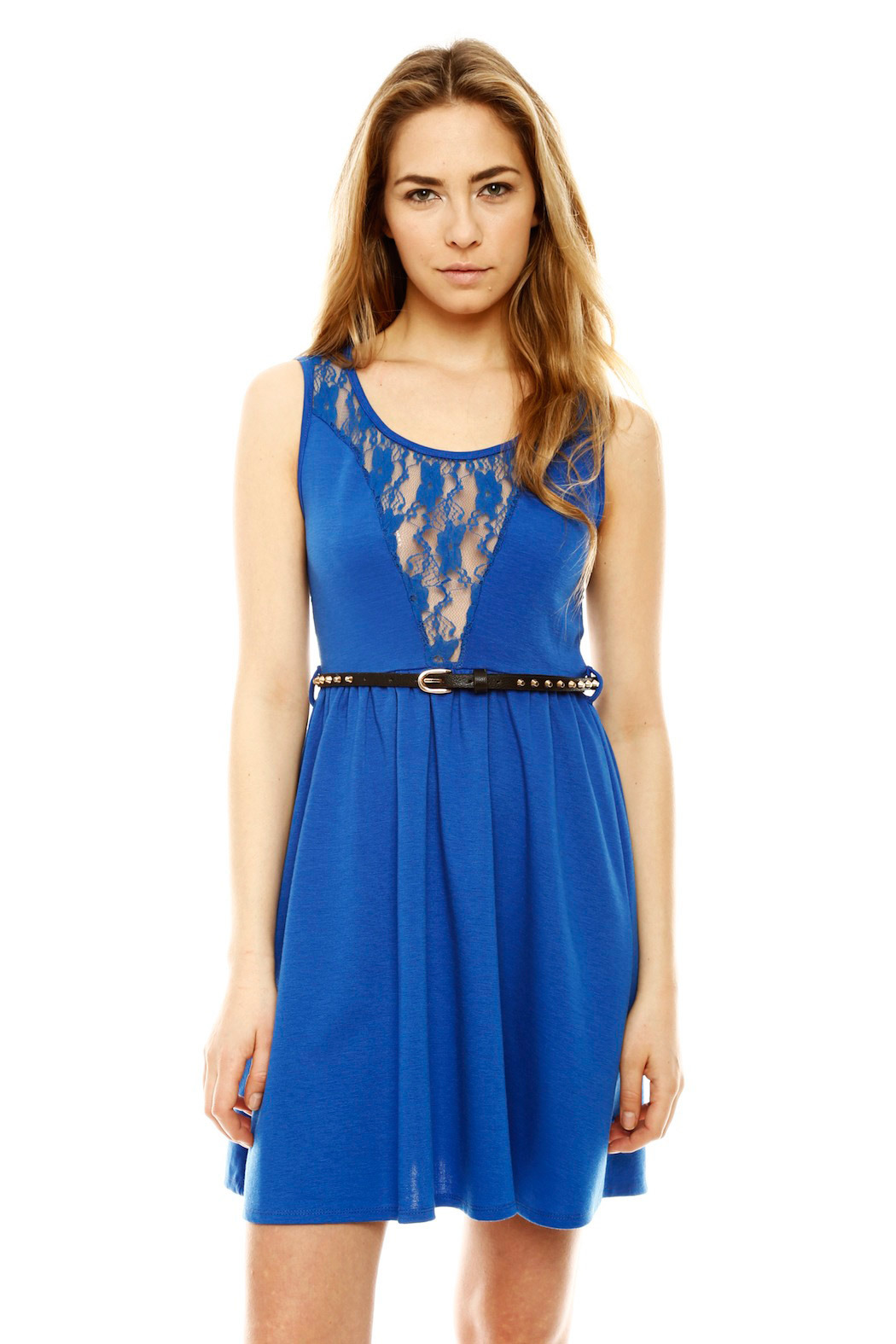 Ya Los Angeles Lacy Skater Dress - Front Cropped Image