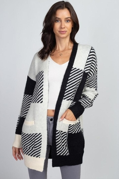 Shoptiques Product: Fuzzy Checkered Cardigan