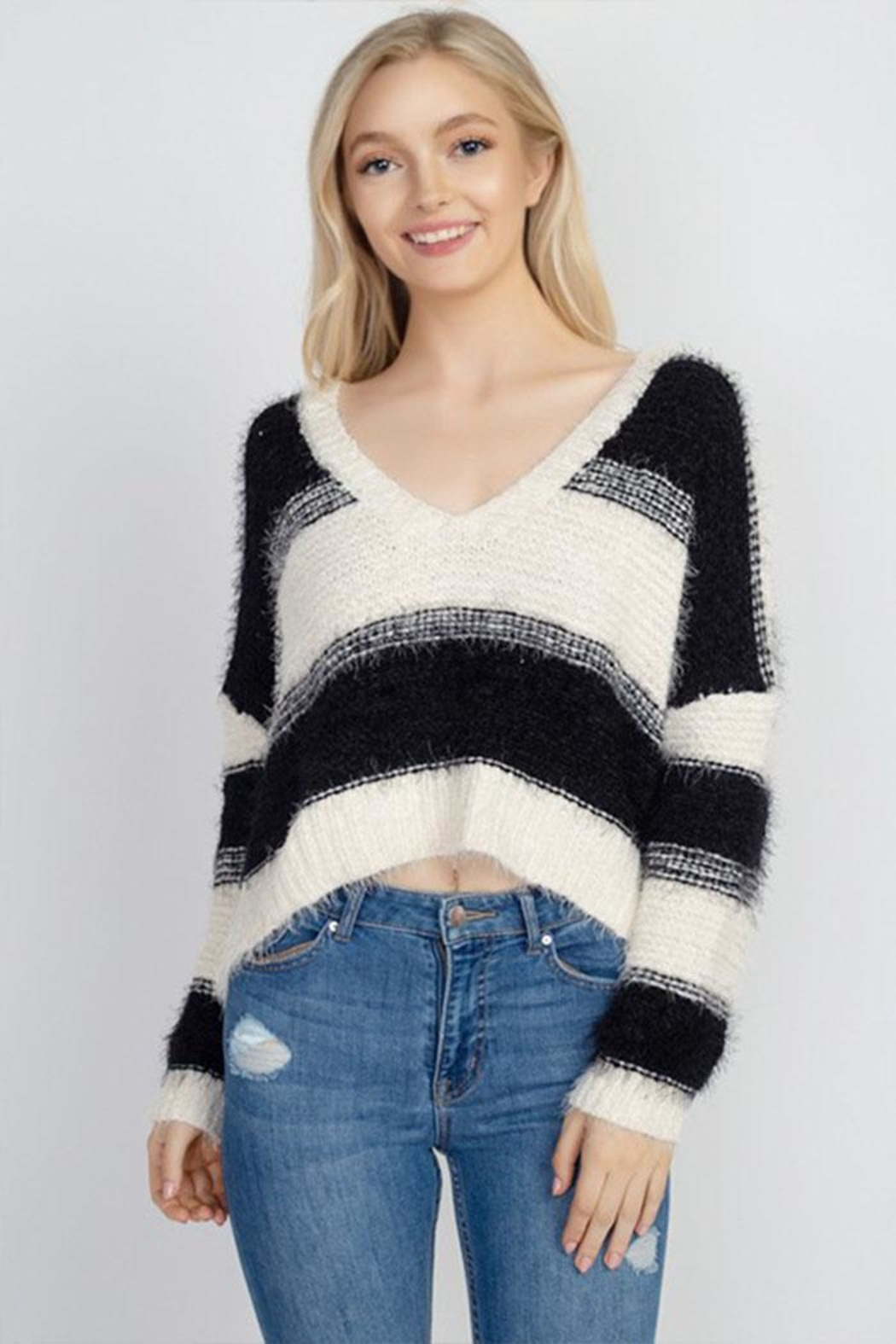 debut Fuzzy Stripe Sweater - Main Image