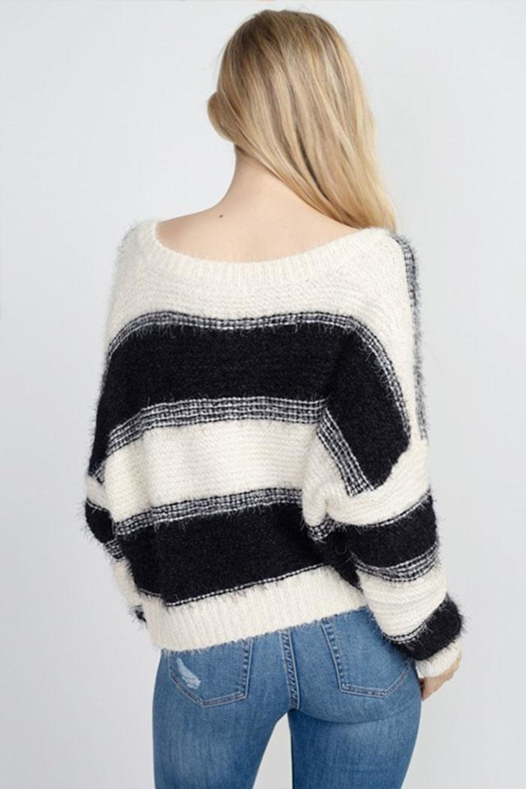 debut Fuzzy Stripe Sweater - Front Full Image