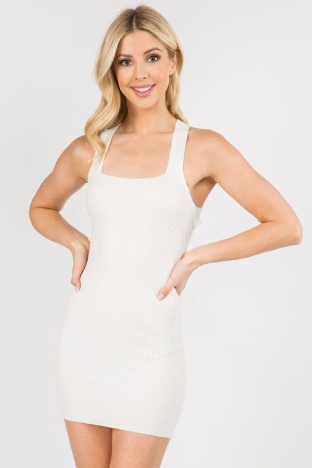 debut Ribbed Cross Back Dress - Front Cropped Image