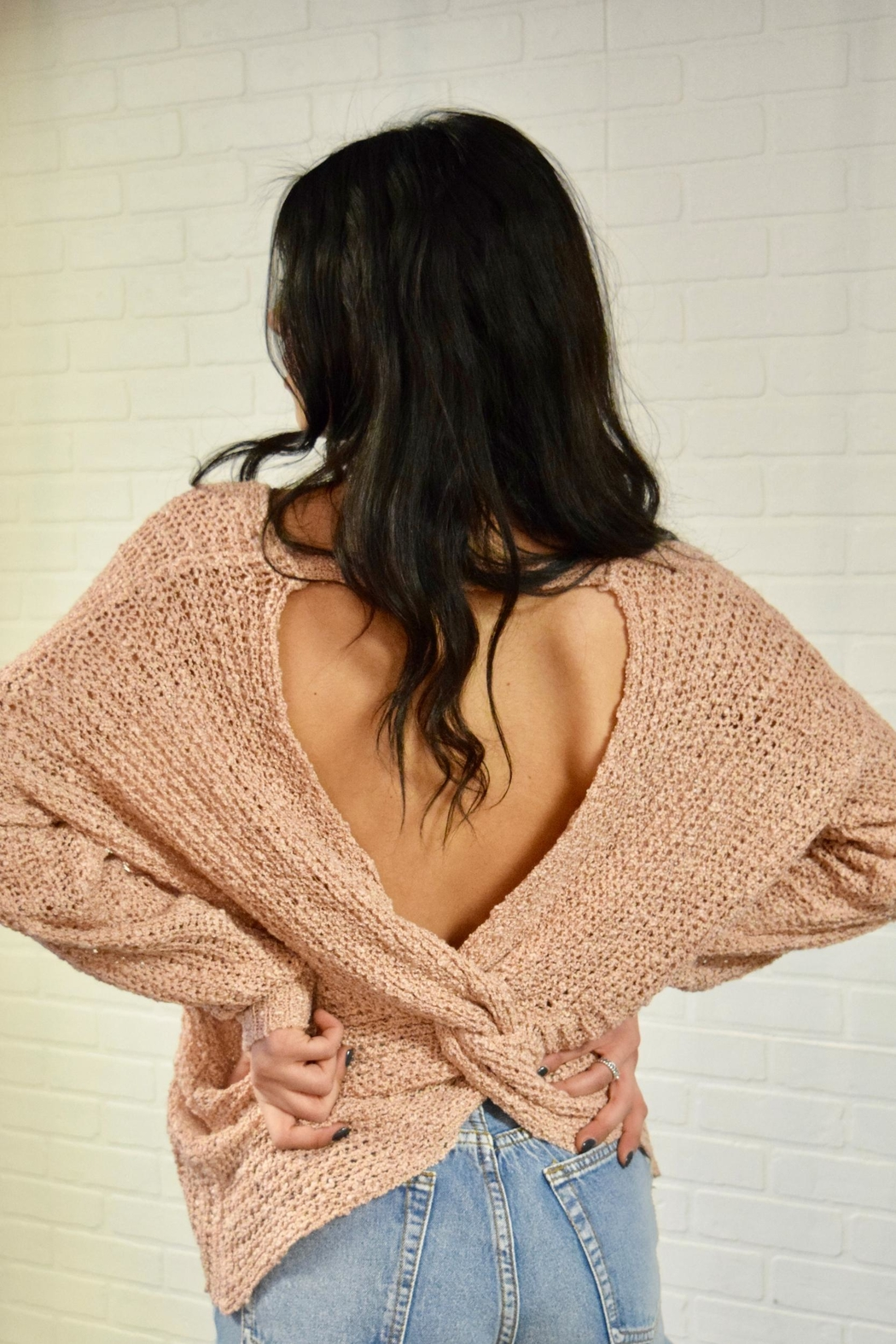 debut Twist Back Sweater - Side Cropped Image