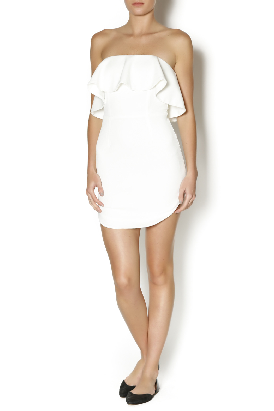 luxxel Tiered White Dress - Front Full Image