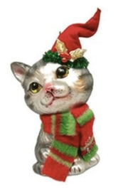 December Diamonds Tabby With Stocking Hat Ornament - Product Mini Image