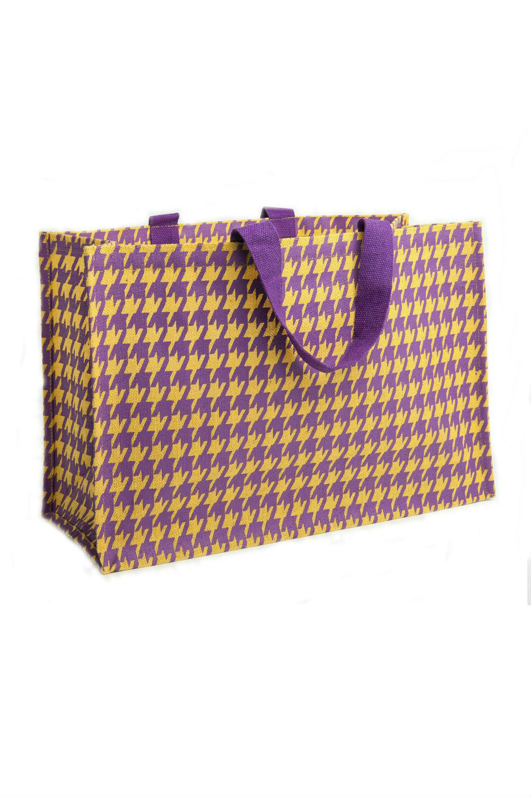 Deck The Halls Houndstooth Jute Totes - Front Cropped Image