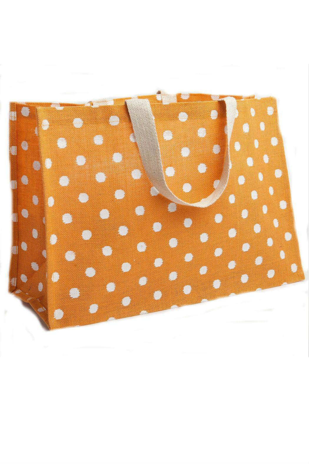 Deck The Halls Jute Tote Polkadot - Front Full Image