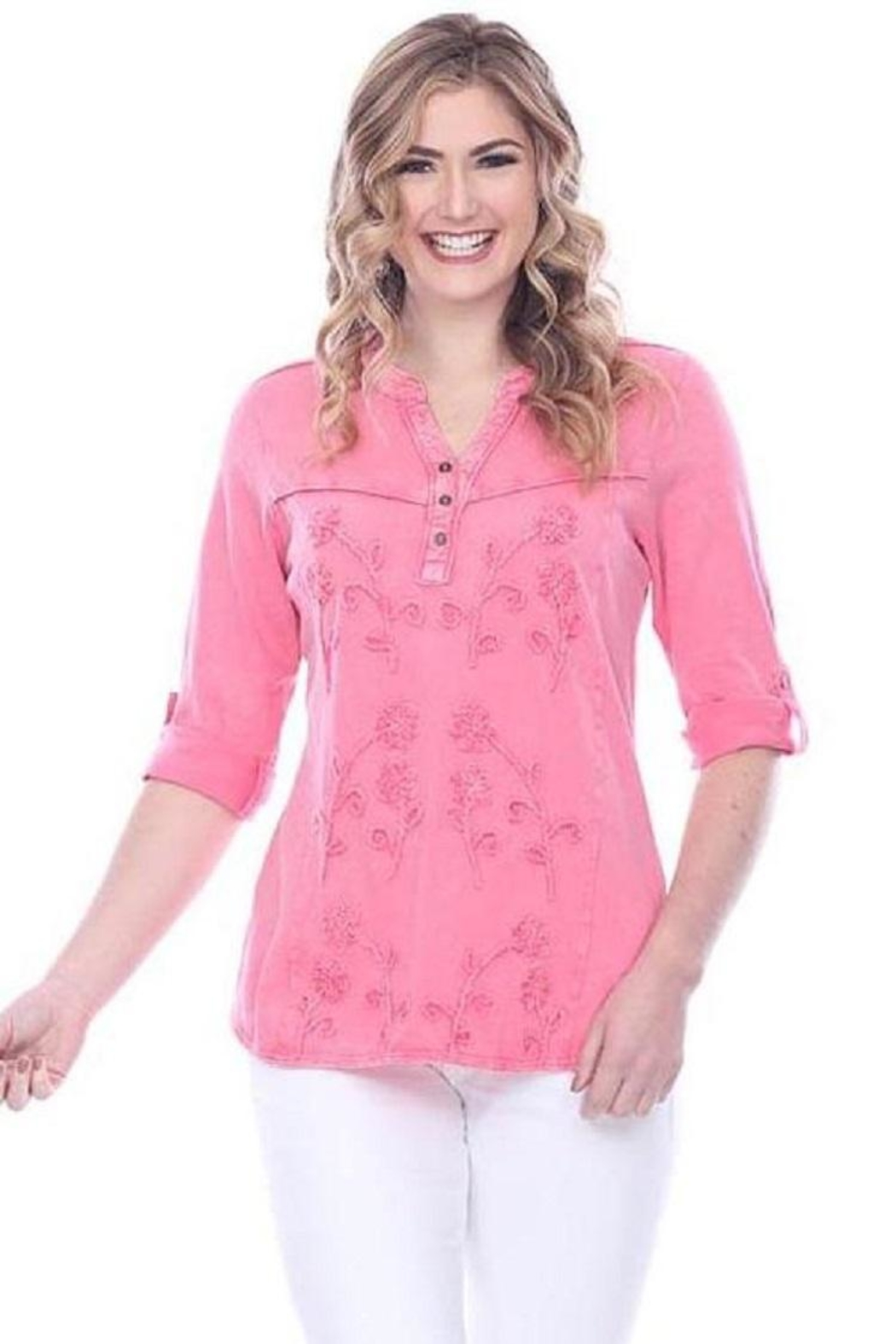 Parsley & Sage Decorative Stitched Blouse - Front Full Image