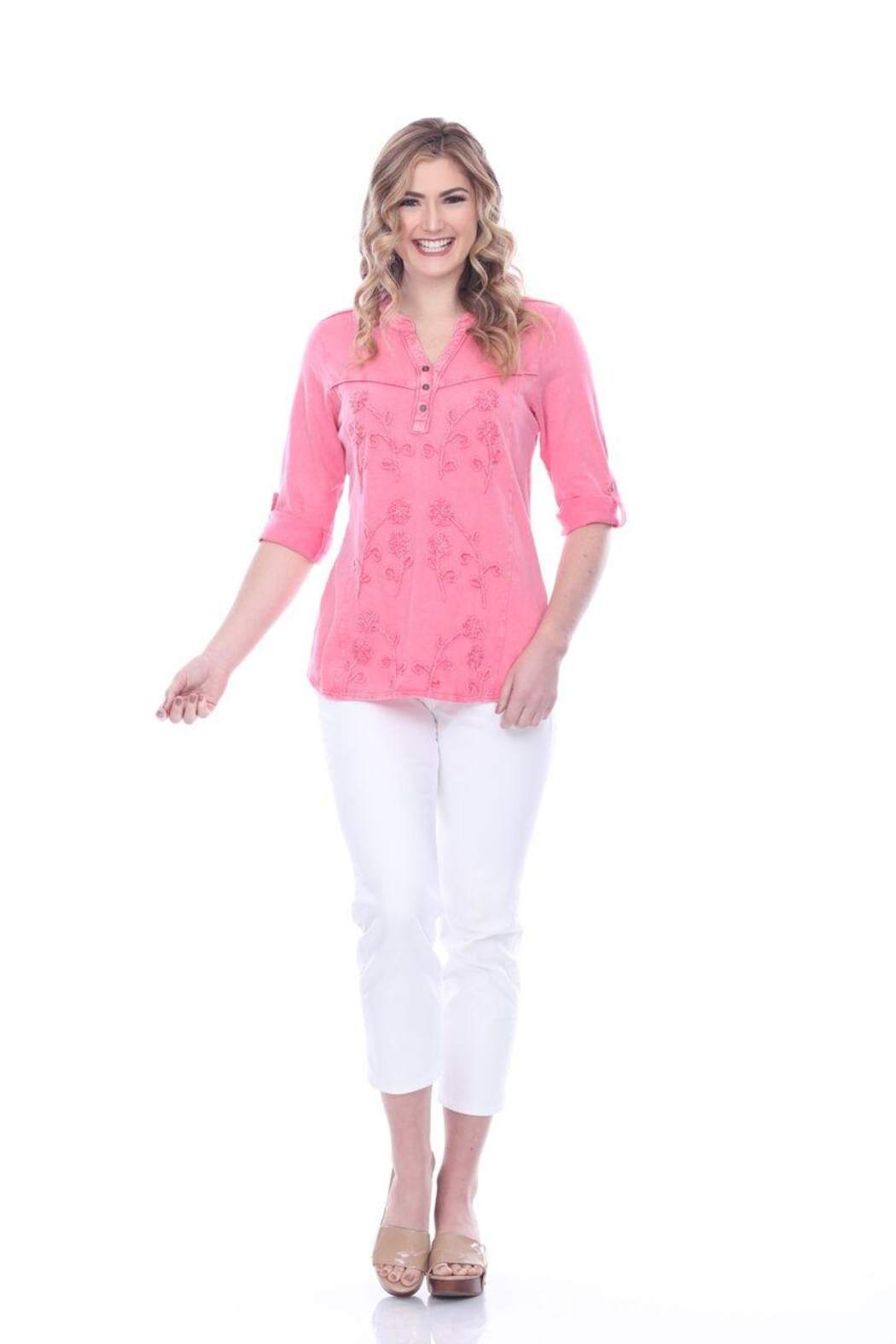 Parsley & Sage Decorative Stitched Blouse - Front Cropped Image