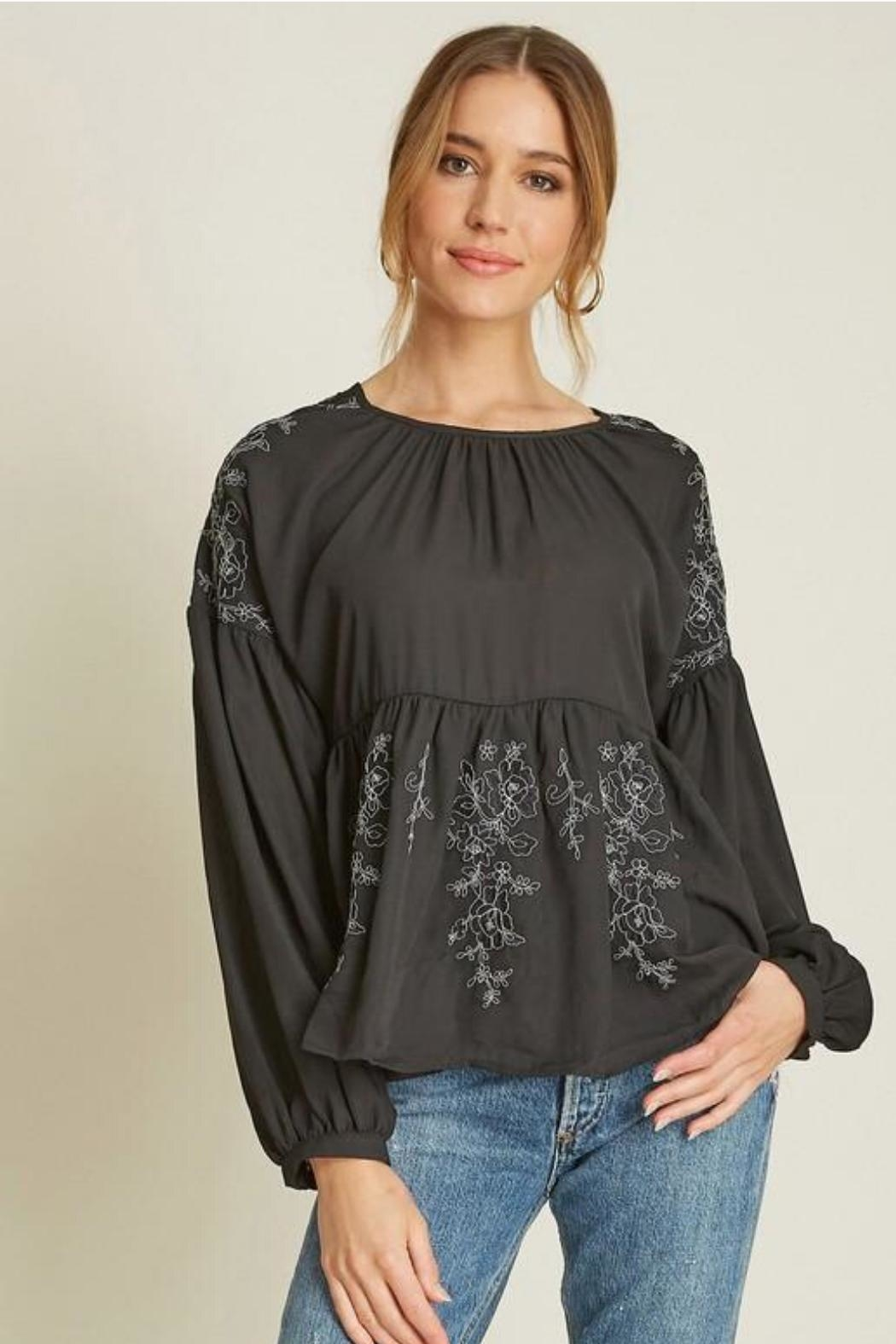 Dee Elly Black Embroidery Top - Main Image
