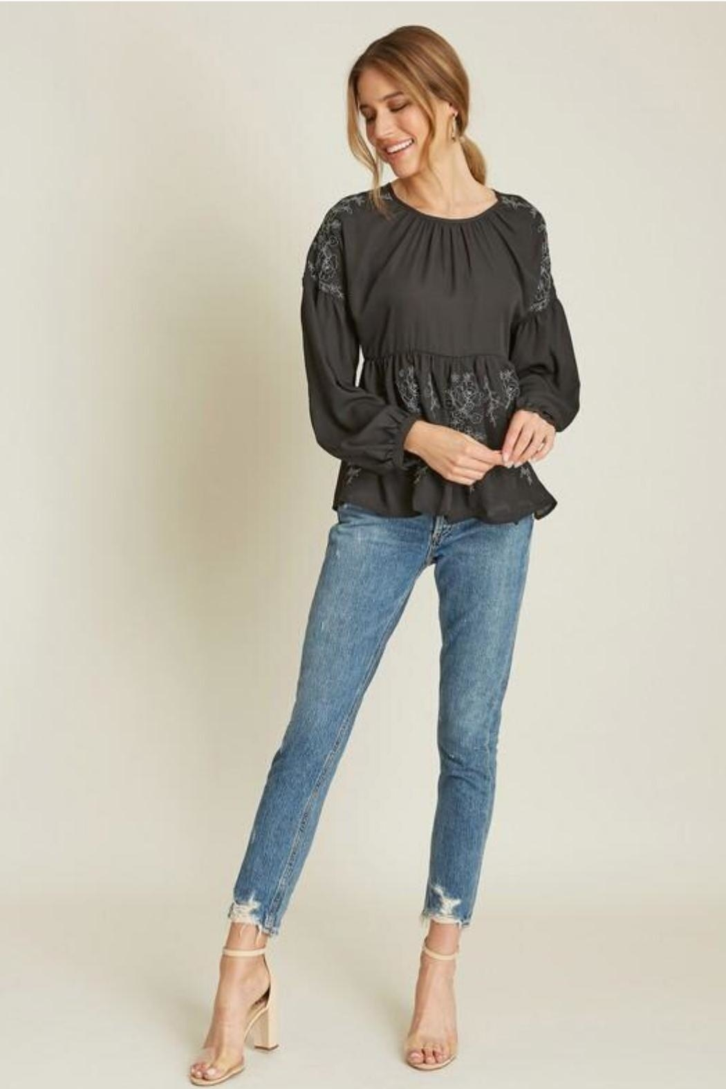 Dee Elly Black Embroidery Top - Front Full Image