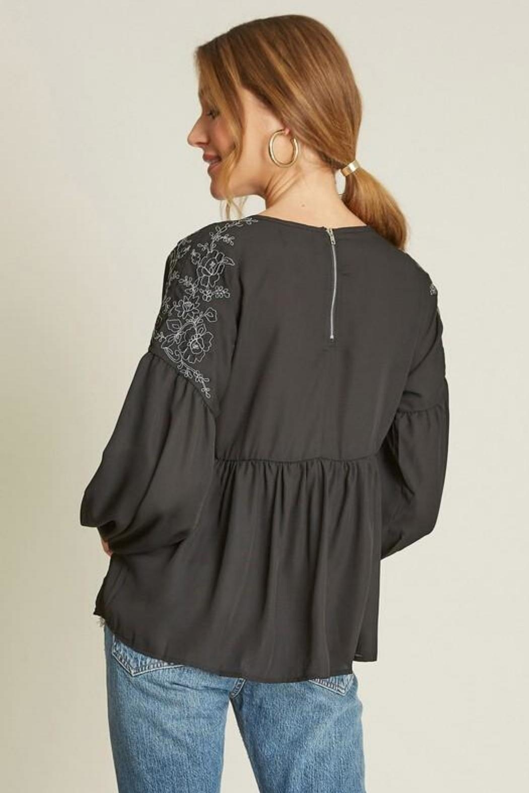 Dee Elly Black Embroidery Top - Side Cropped Image
