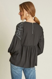 Dee Elly Black Embroidery Top - Side cropped