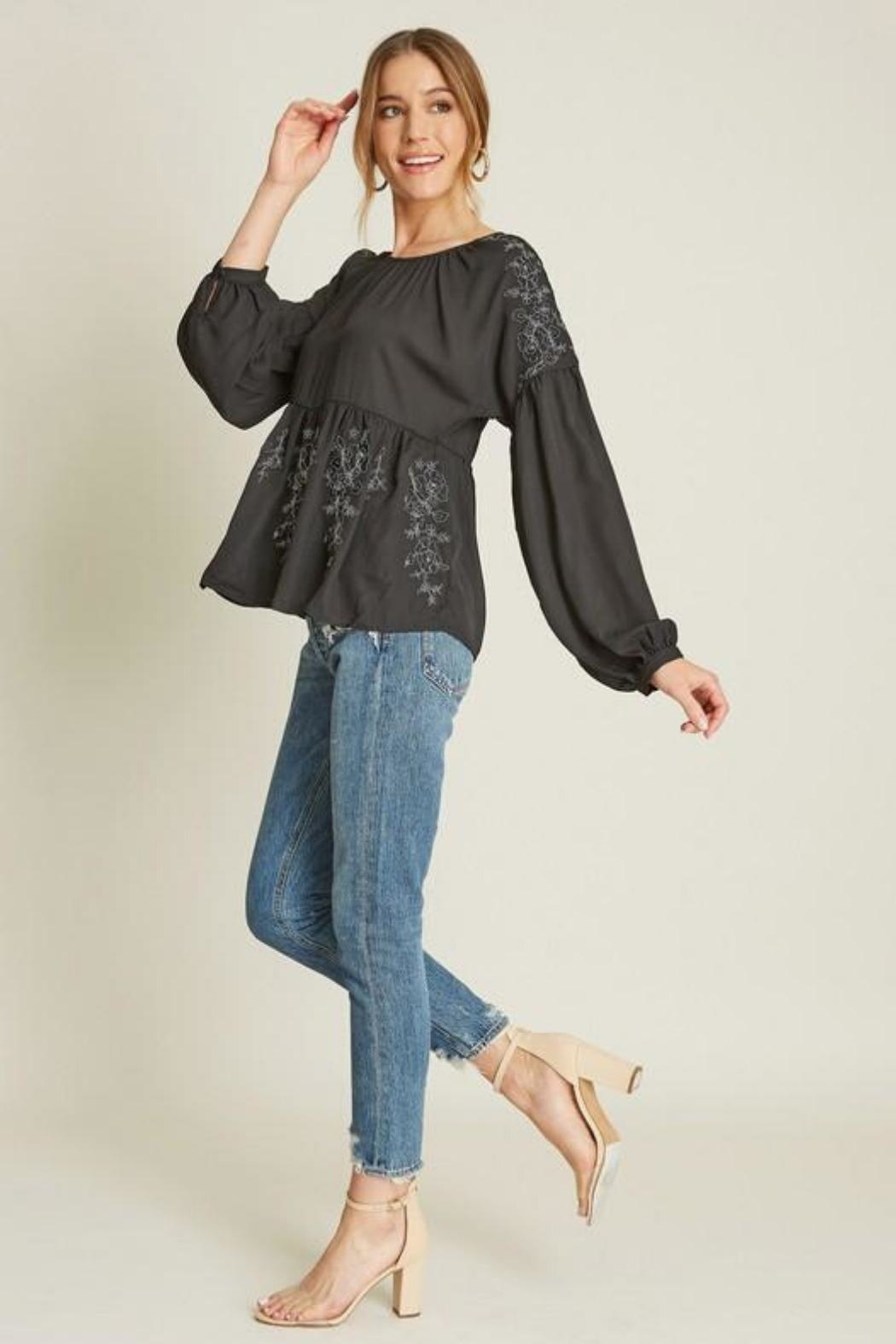 Dee Elly Black Embroidery Top - Back Cropped Image