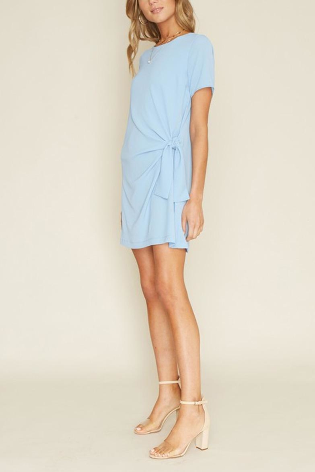 Dee Elly Blue Knot Shirt-Dress - Front Full Image