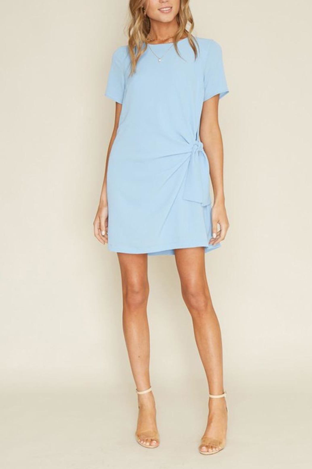 Dee Elly Blue Knot Shirt-Dress - Front Cropped Image