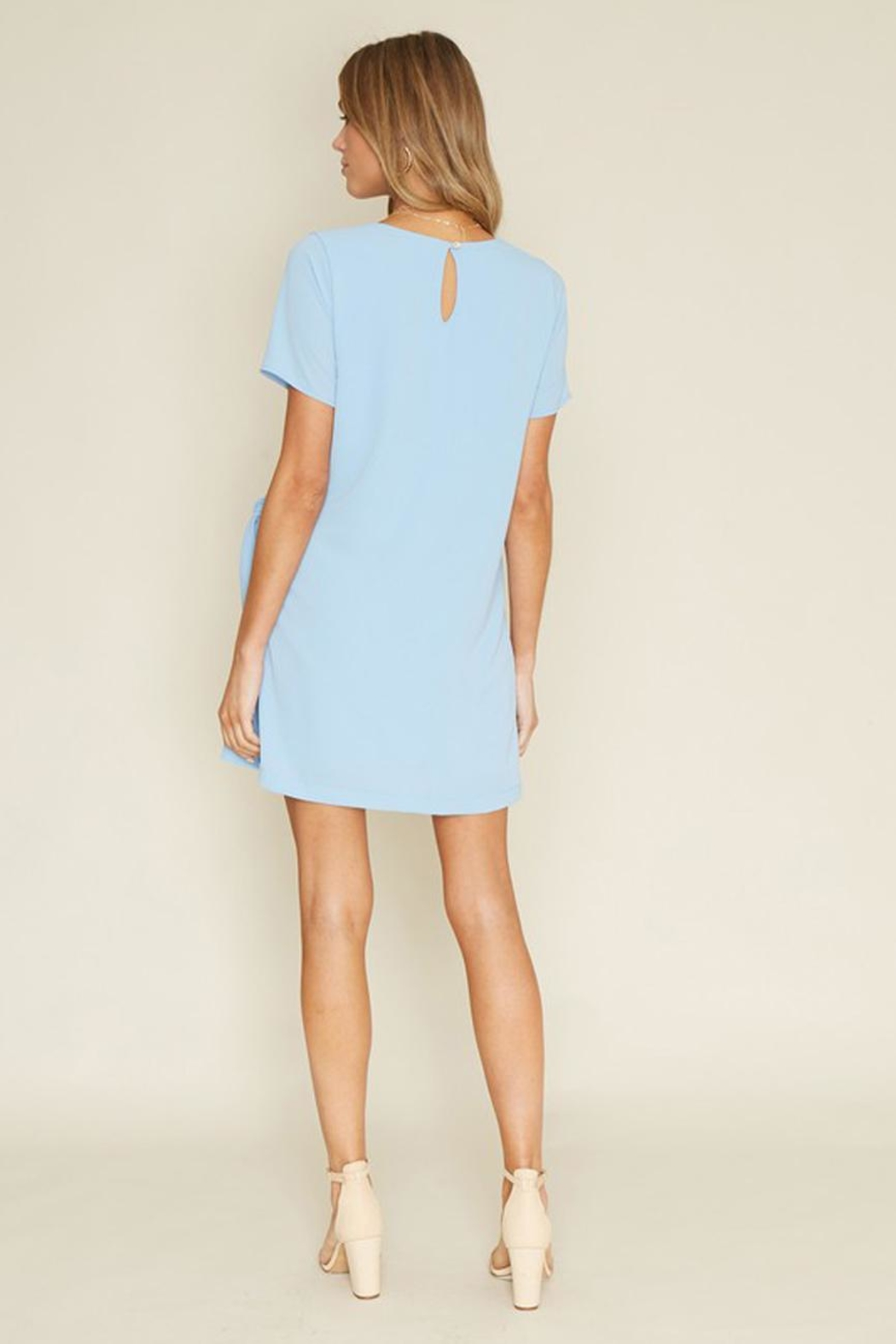 Dee Elly Blue Knot Shirt-Dress - Back Cropped Image