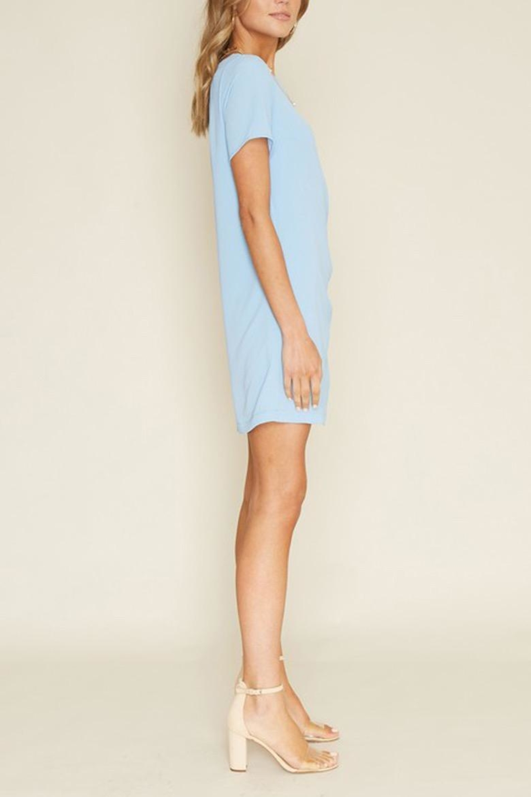 Dee Elly Blue Knot Shirt-Dress - Side Cropped Image