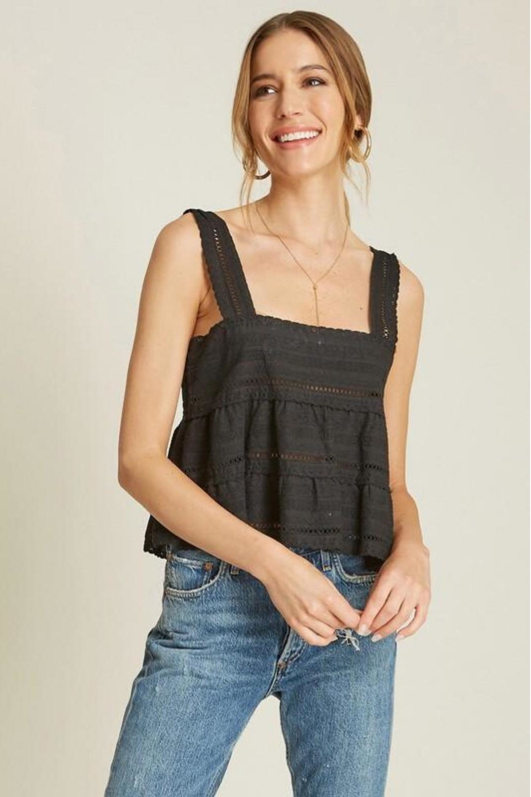 Dee Elly Eyelet Crochet Tank - Front Cropped Image