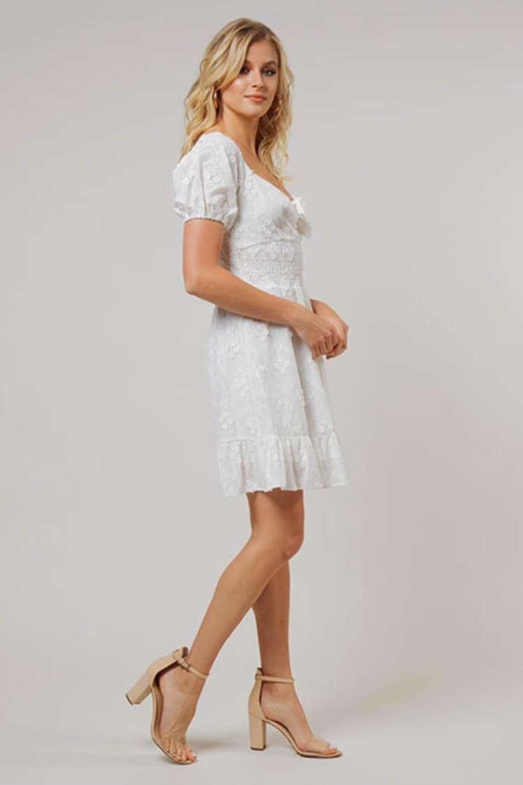 Dee Elly Floral Embroidered Midi-Dress - Front Full Image