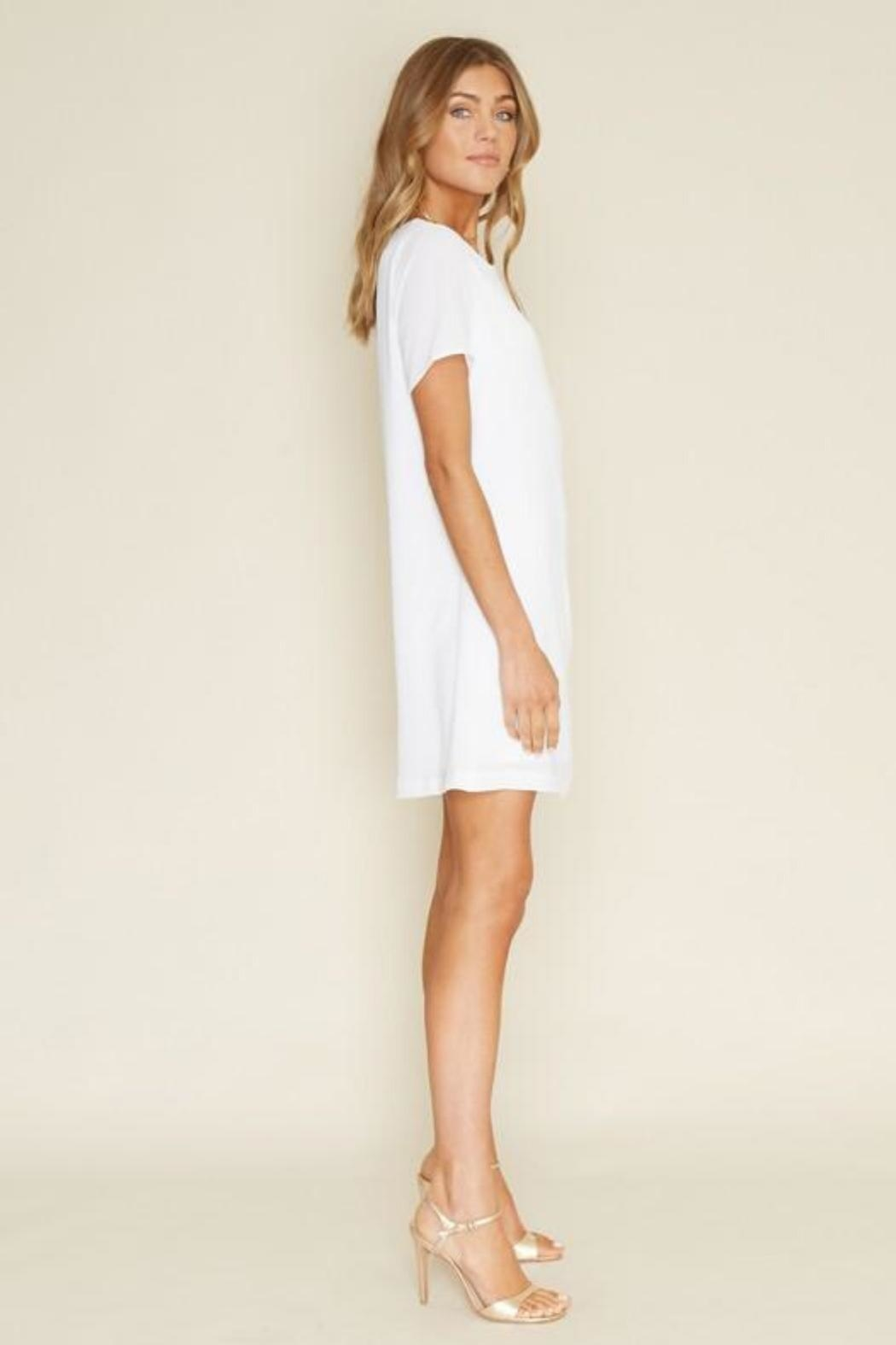 Dee Elly Knot Shirt-Dress, White - Back Cropped Image