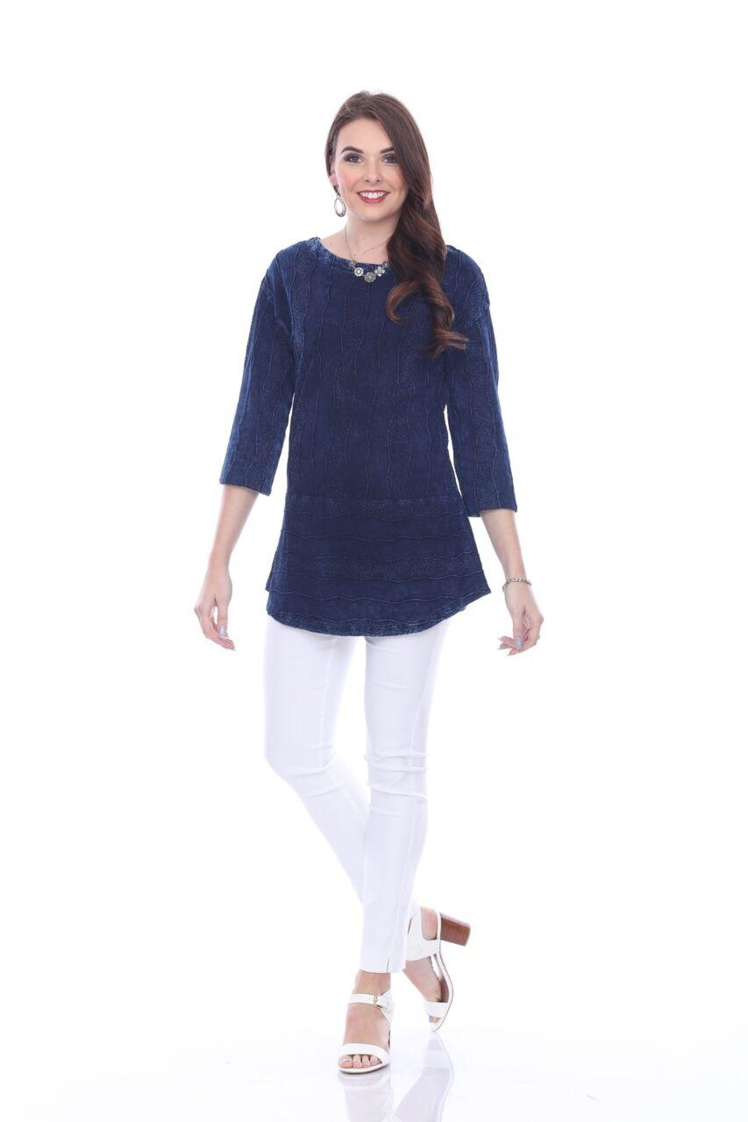 True Blue  Deep Blue Blouse - Front Full Image