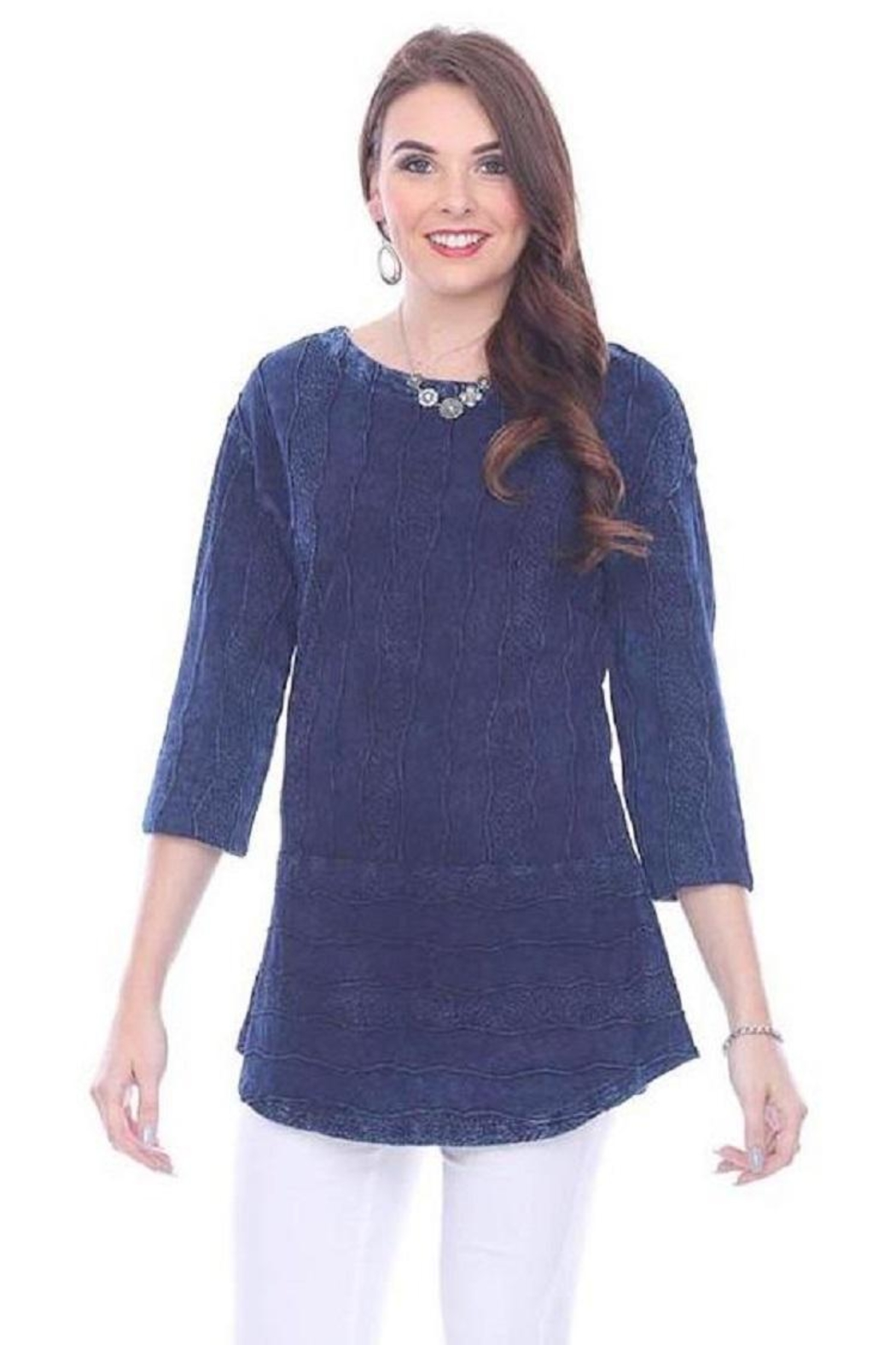 Parsley & Sage Deep Blue Blouse - Front Full Image