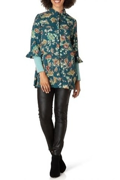 Yest Deep Teal Floral Blouse - Product List Image