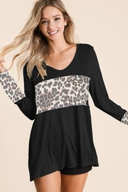 Bibi DEEP U-NECK TOP WITH LEOPARD FRONT BLOCK - Product Mini Image