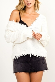 Olivaceous Deep-V Distressed Sweater - Product Mini Image