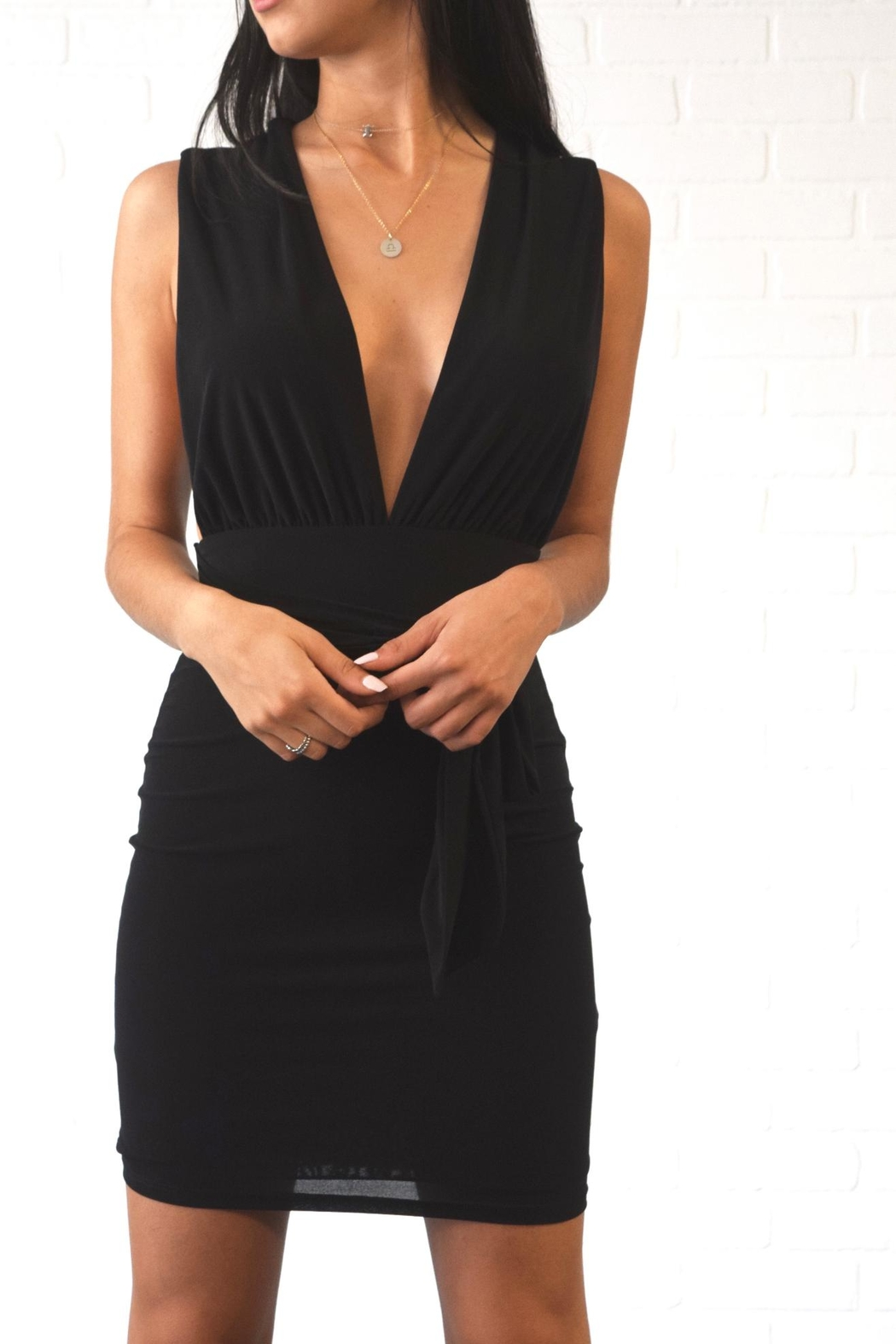 day and night Deep v Dress - Front Cropped Image