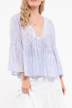 blu Pepper  Deep V Woven Striped Top - Product List Image