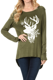 Coloring You  Deer & Snow Flake Festive Winter Top - Product Mini Image