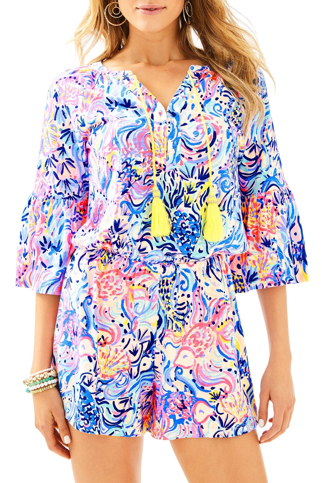 Lilly Pulitzer Del Lago Romper - Front Cropped Image