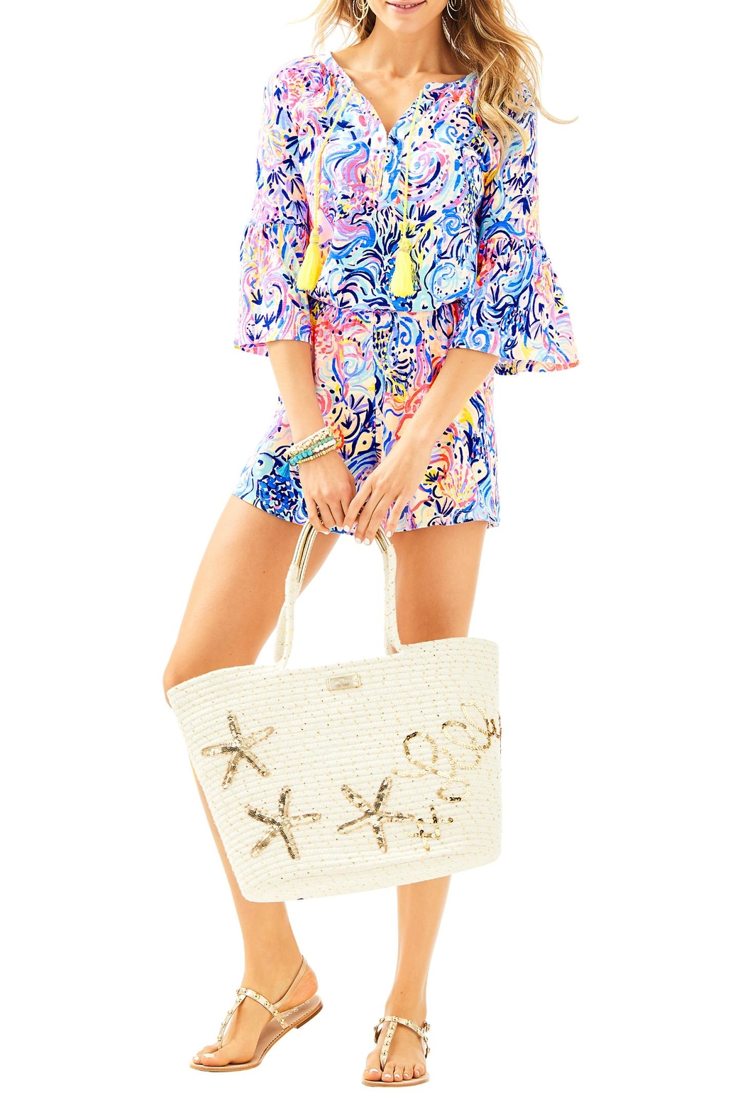 Lilly Pulitzer Del Lago Romper - Back Cropped Image