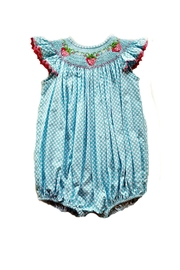 Delaney Strawberry Smocked Bubble - Front cropped