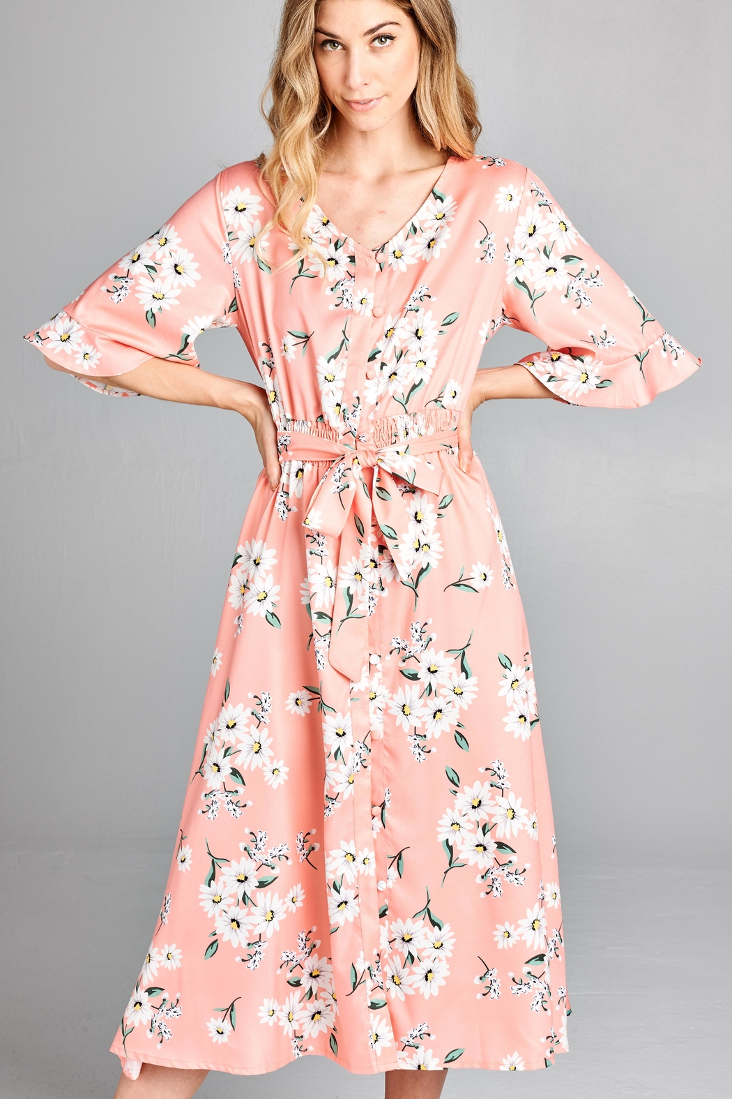 Racine Delicate Floral-Print Midi-Dress - Back Cropped Image