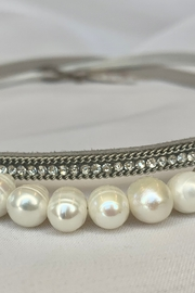 deannas Delicate Gray Choker with Rhinestones and Pearls - Product Mini Image