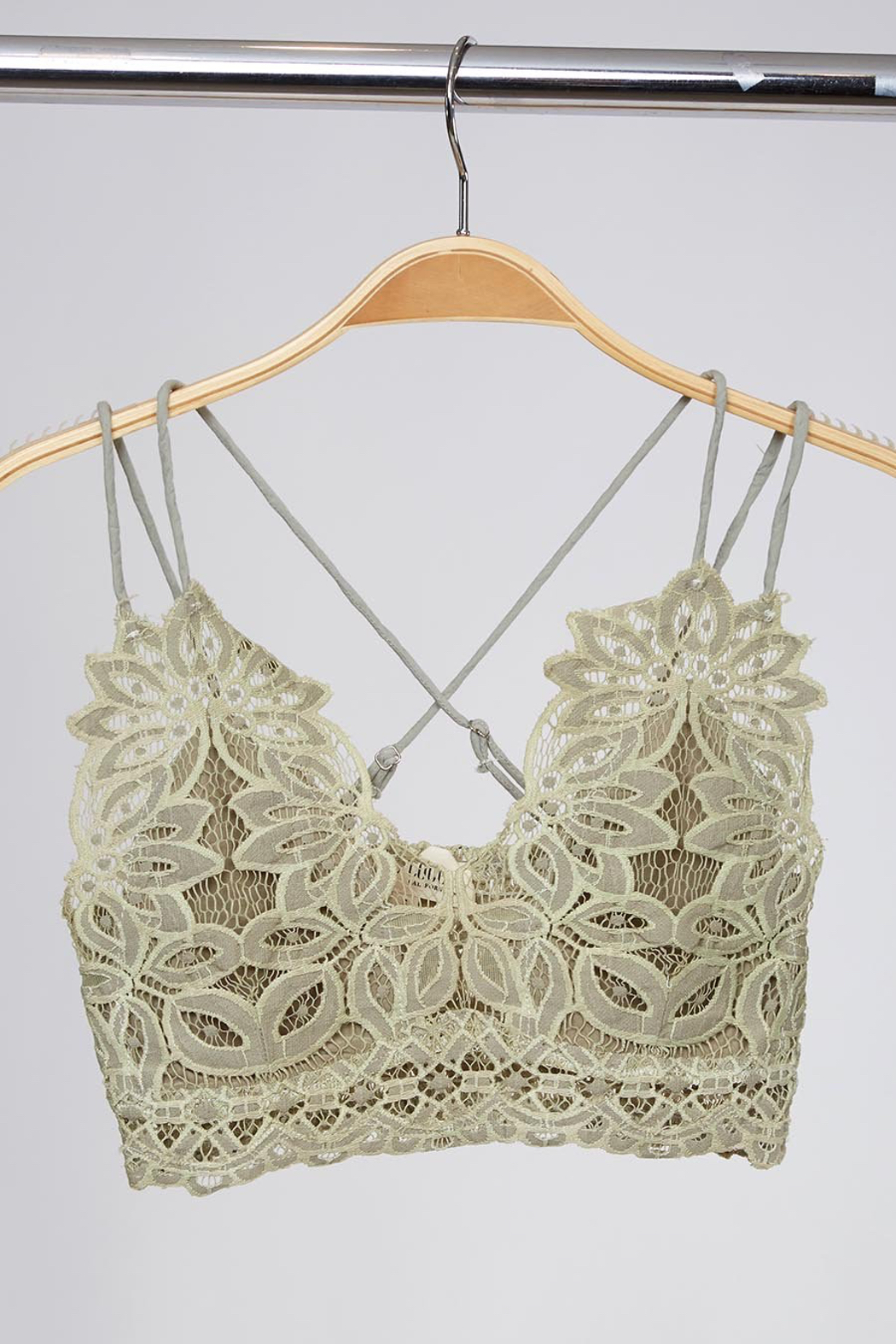 Peach Love California Delicate Petal Lace Bralette - Front Cropped Image
