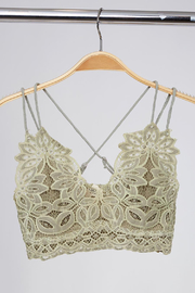 Peach Love California Delicate Petal Lace Bralette - Front cropped