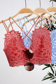 Peach Love California Delicate Petal Lace Bralette - Product Mini Image