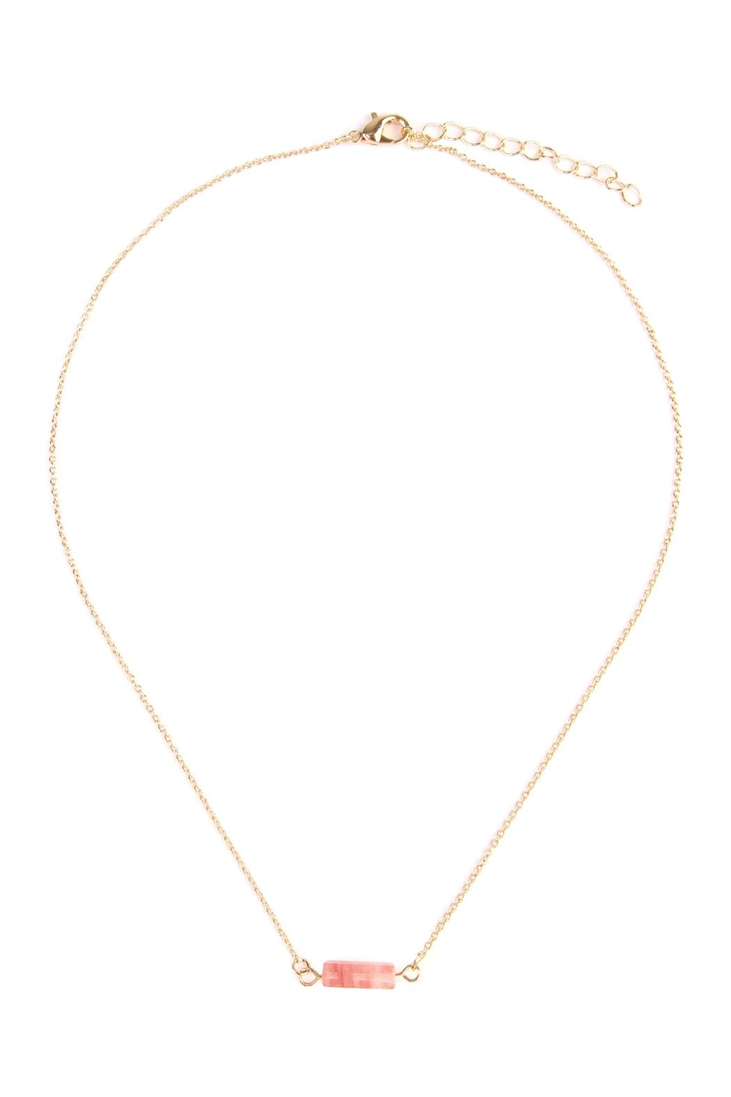 Riah Fashion Delicate Stone Necklace - Front Cropped Image