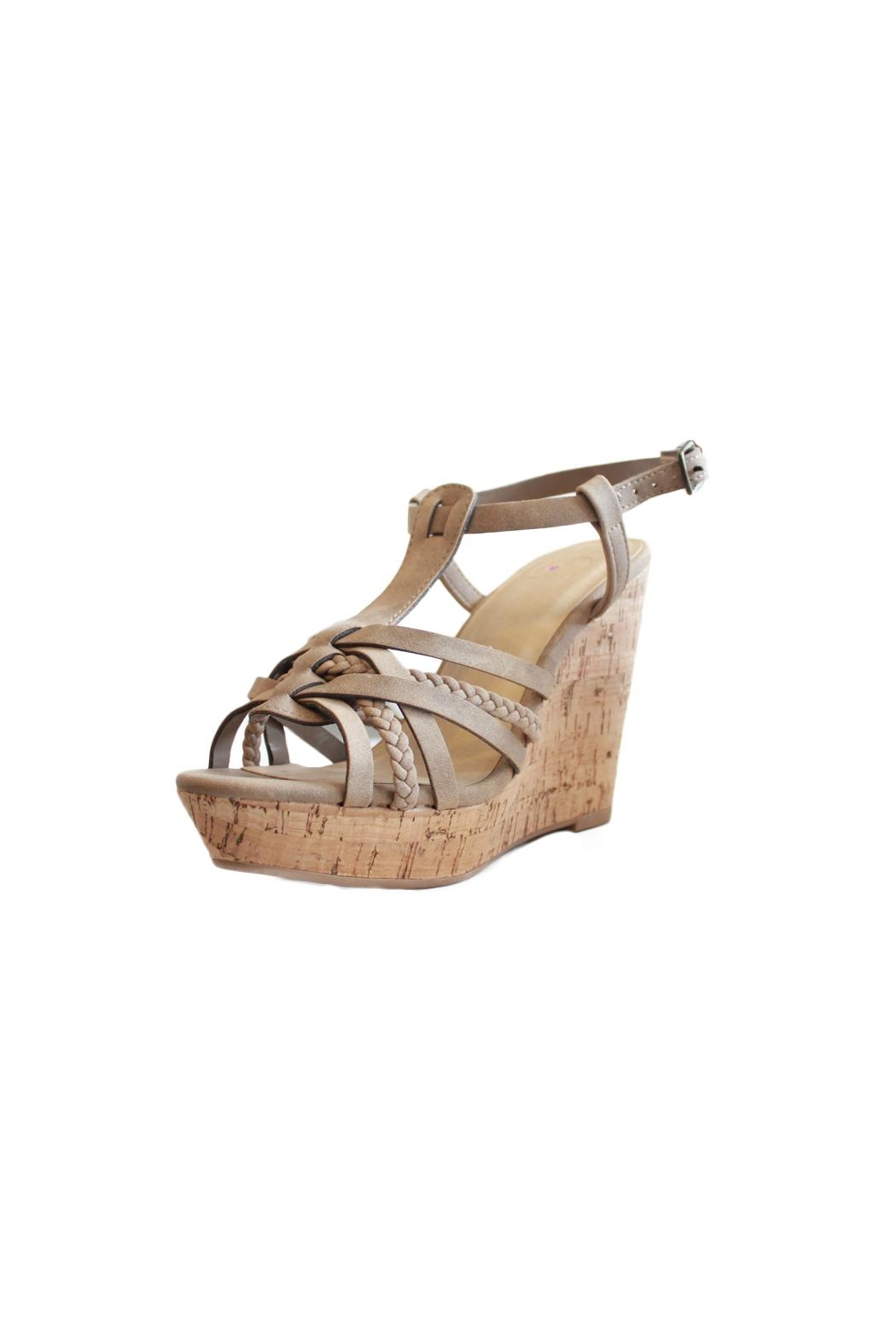 Delicious Shoes Bridget Wedge Sandal - Front Full Image