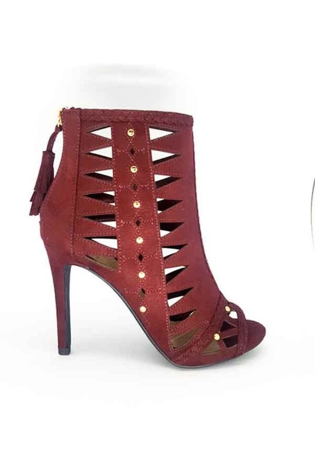 Delicious Shoes Detailed Wine Heels - Back Cropped Image