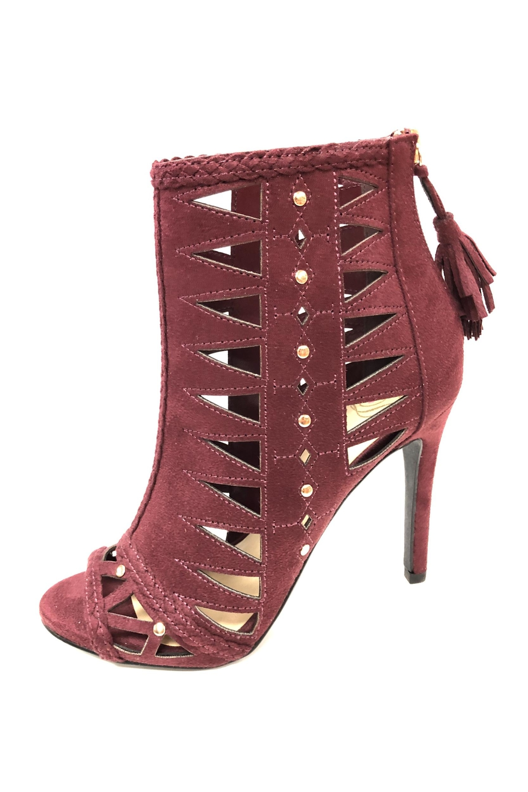 Delicious Shoes Detailed Wine Heels - Front Full Image