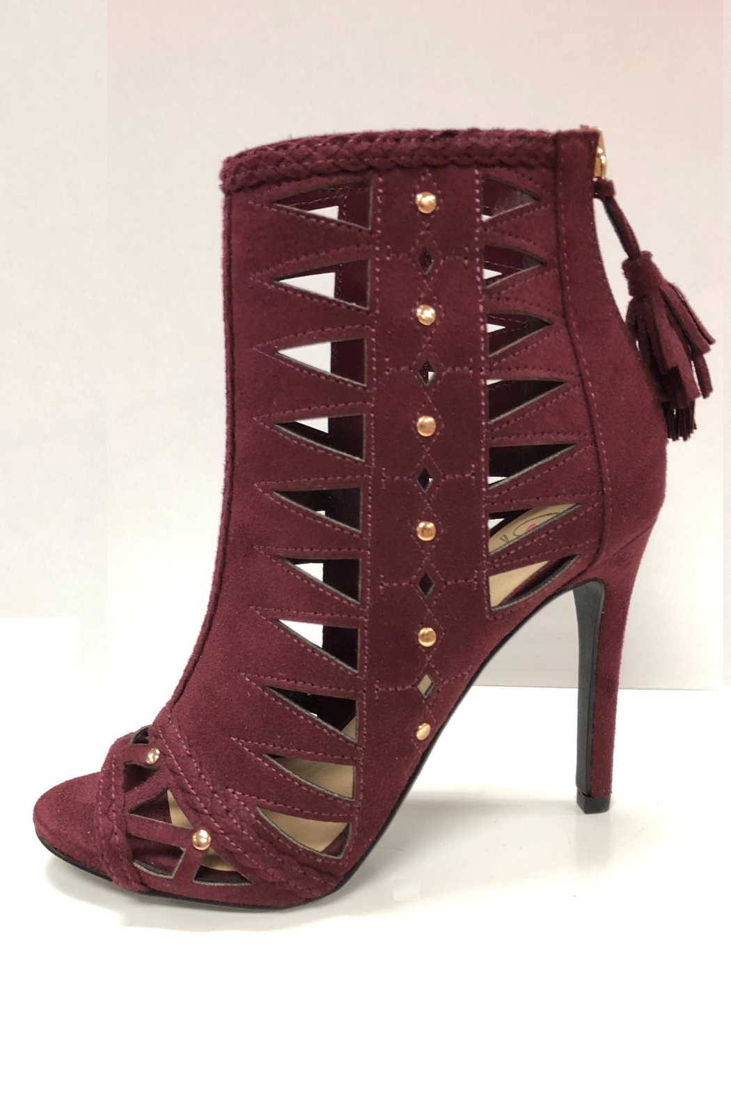 Delicious Shoes Detailed Wine Heels - Main Image