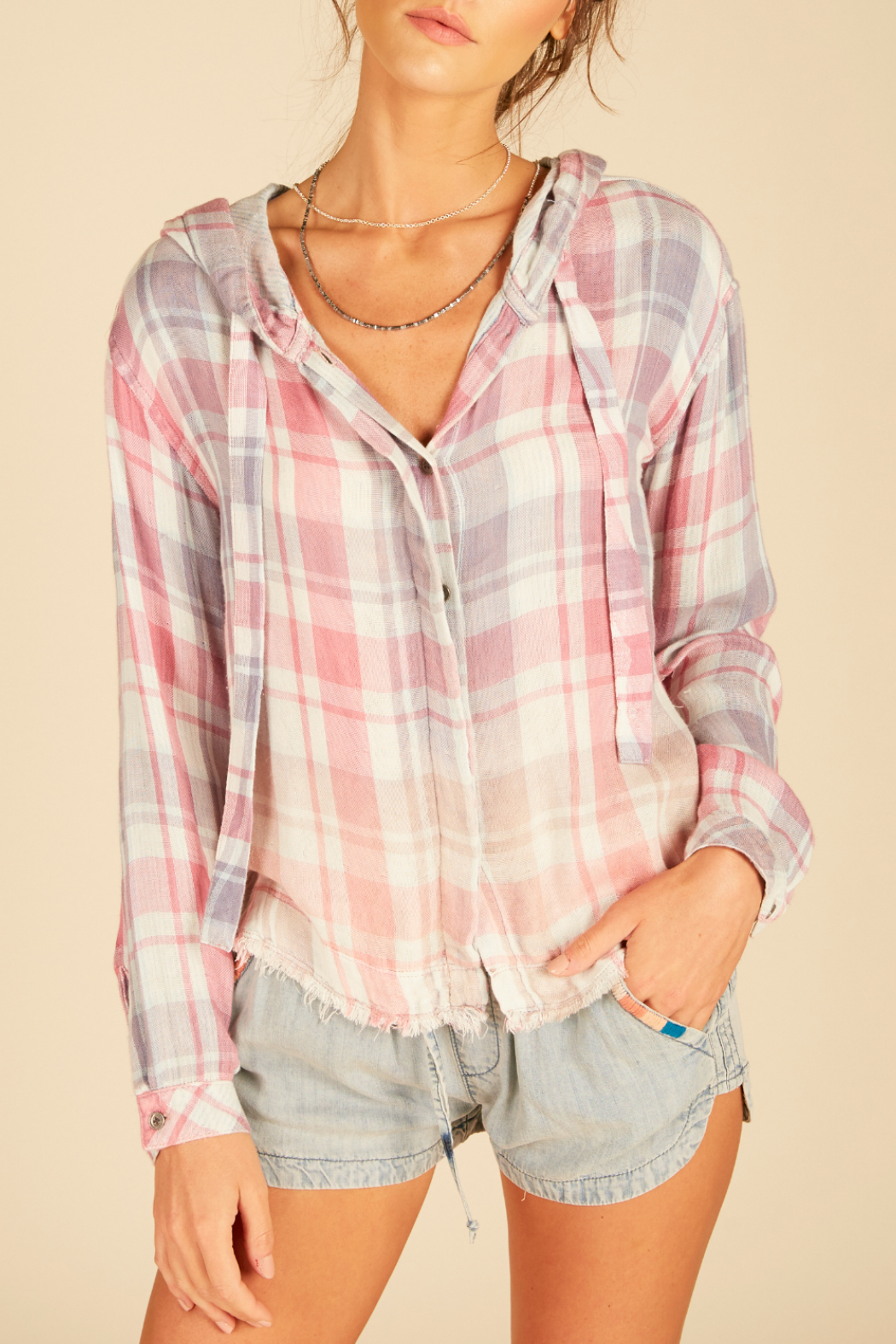 Vintage Havana Delilah plaid boxy crop hoodie shirting - Front Cropped Image