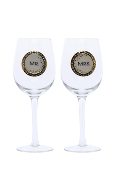 Shoptiques Product: Mr Mrs Wine Glass